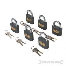 IJzeren hangsloten,  6 pk. met 6 identieke sleutels