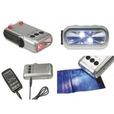 DYNAMO LEDZAKLAMP/LADER VOOR MOBIELE TELEFOON/ALARM/GELDTESTER - 5 LEDS